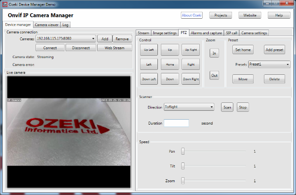 Control panel of the Pan-Tilt-Zoom in the Onvif IP Camera manager