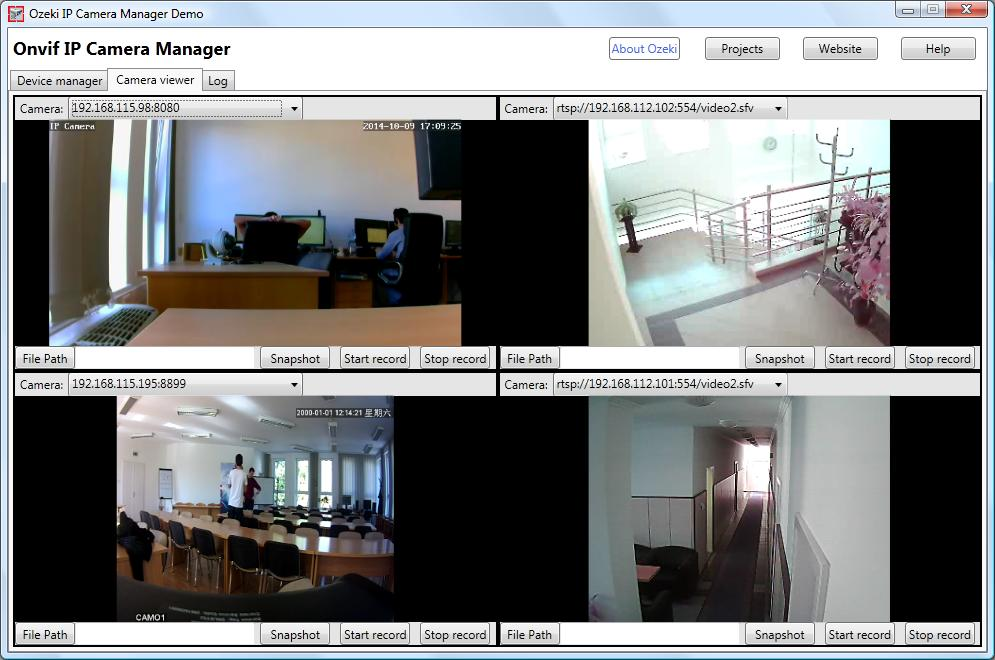 Display more than one IP camera image in the Onvif IP Camera Manager