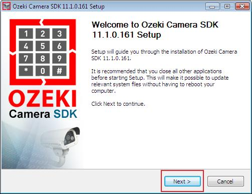 the welcome window of the Ozeki Camera SDK installer