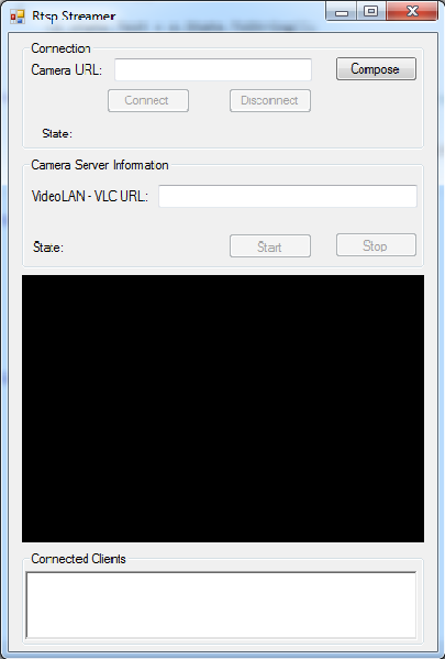 The Graphical User Interface of an application for connect to stream in C#