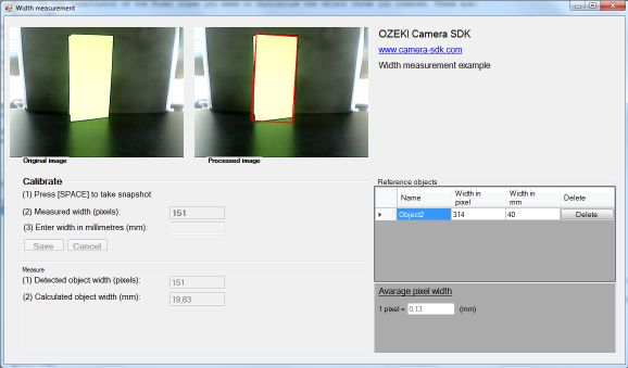 C# Camera SDK: How to measure the width of an object in C#