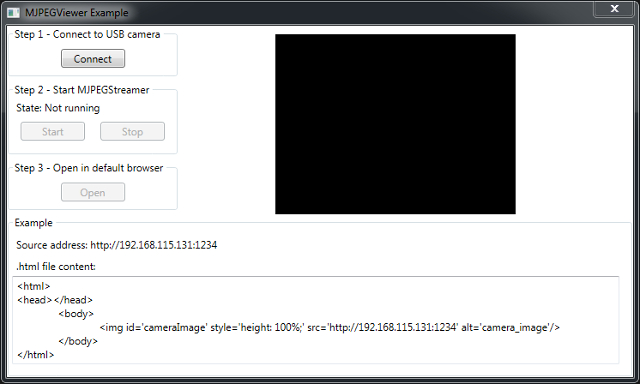 The Graphical User Interface of an application for displaying MJPEG camera stream in C#