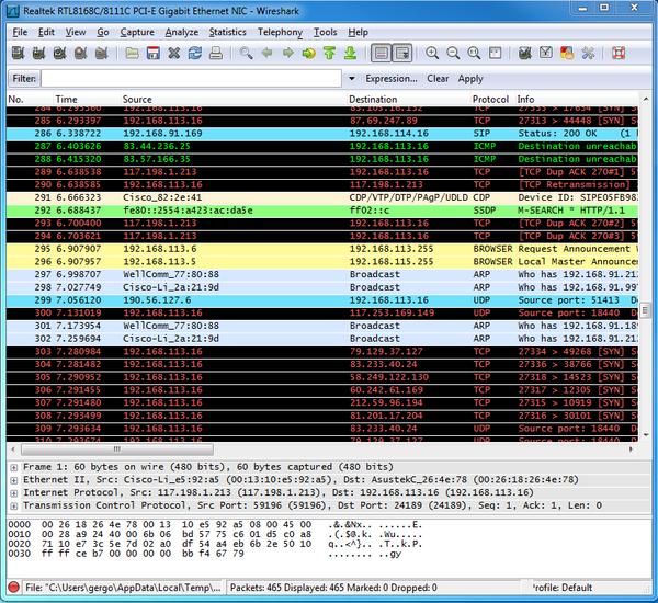 C# Camera SDK: Wireshark Log