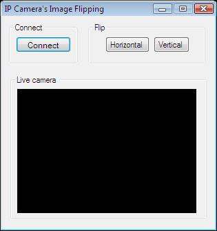 The Graphical User Interface of the application for flipping the image of the camera in C#