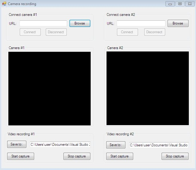 The Graphical User Interface of an application for recording from multiple cameras in C#