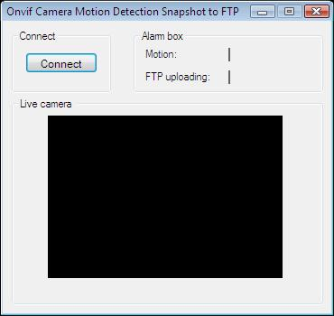 The Graphical User Interface of an application that handles alarms by taking a snapshot and uploading it to an FTP server in C#