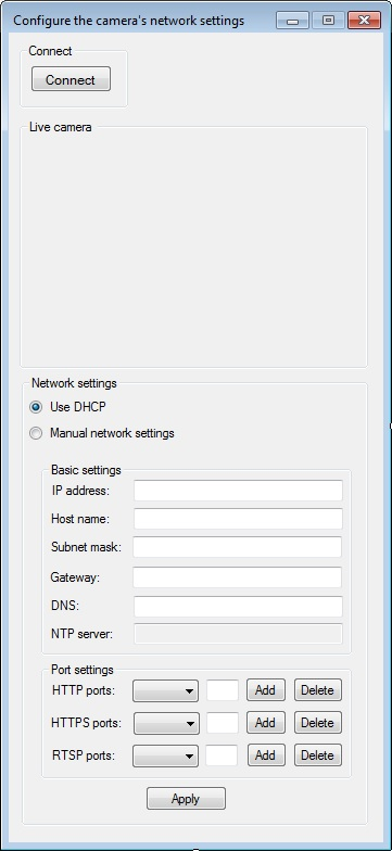 The Graphical User Interface of an application for configuring the camera's network settings in C#