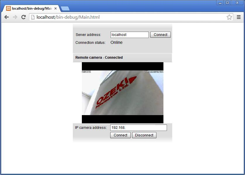 The Graphical User Interface of a website to which you can stream the Onvif IP camera image as a Flash video in C#